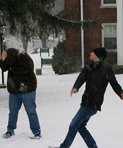 Snowball Fight - Students playing in the snow